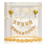 Cake Pick Banderin - Gold