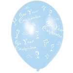 Globos Communion Printed Blue Latex Balloons 27.5cm