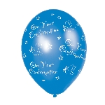 Globos Confirmation Blue Printed Latex Balloon - 11''/27.5cm