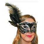 Negro & Silver Mascara w feather