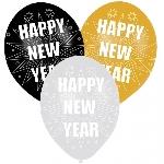 6 Latex Balloons Happy New Year 27.5 cm/11''
