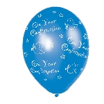 Globos Confirmation Blue Latex Balloons - (All Over Print) - 27.5cm 5