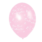 Globos Confirmation Pink Latex Balloons - (All Over Print) - 27.5cm 5