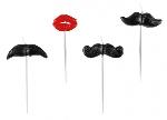 4 Vela mini figuras Moustache