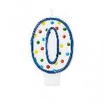 Vela Numero 0 Polka Dots 7.6 cm  **Stock