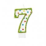 Vela Numero 7 Polka Dots 7.6 cm  **Stock