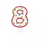 Vela Numero 8 Polka Dots 7.6 cm  **Stock