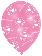 Globos All Round Printed Christening Pink Latex Balloons - 27.5cm