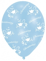 Globos All Round Printed Christening Boy Latex Balloons - 27.5cm