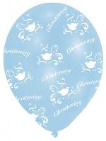Globos All Round Printed Christening Boy Latex Balloons - 27.5cm