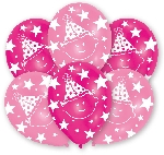 Globos All Round Printed First Birthday Girl Latex Balloons - 27.5cm