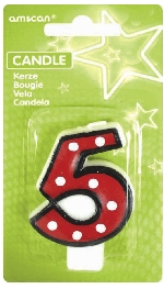 Vela White Dots & Black Border Number 5 - 7.6cm