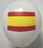 GLOBO LATEX FASHION BLANCO BANDERA ESPAÑA 30 cm