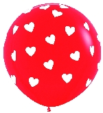 GLOBO LATEX FASHION ROJO CORAZONES CLASICO  90cm
