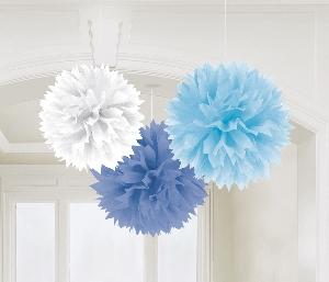 Pompones decorativos mezcla de azules-40cm