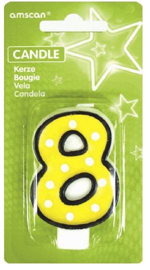 Vela White Dots & Black Border Number 8 - 7.6cm