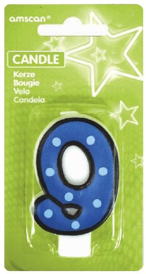 Vela White Dots & Black Border Number 9 - 7.6cm