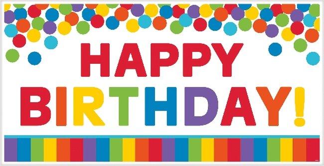 Cartel Happy Birthday Gigante Colores Lisos - 165cm
