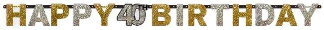 Bandera Prismática Celebración Brillante Edad 40 - Letras 2m
