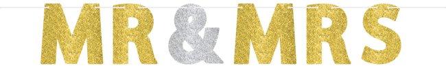 Banner Pancarta Letras de Purpurina Oro y Plata Mr & MRS - 3,6m