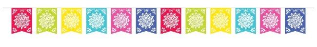 Banderín de papel multicolor-Decoración Mejicana 3,6m