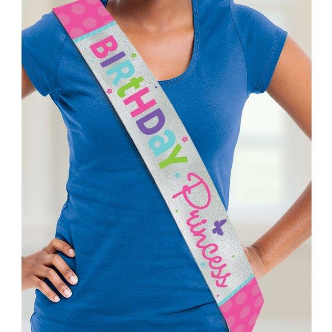 Banda Pink & Teal Happy Birthday Sash 1.5m