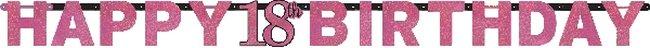 Pendón con letras prismáticas de color de rosa para celebración de 18 años - 2m
