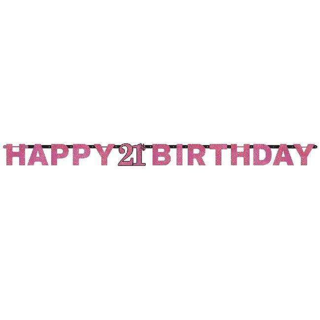 Celebración Rosa Banner Letrero Edad 21 Prismático - 2m