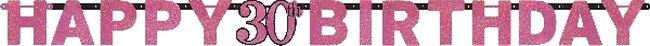 Banner Letrero Prismático Celebración Rosa edad 30 - 2m