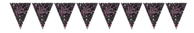 Banderín Happy Birthday en rosa brillante-4m