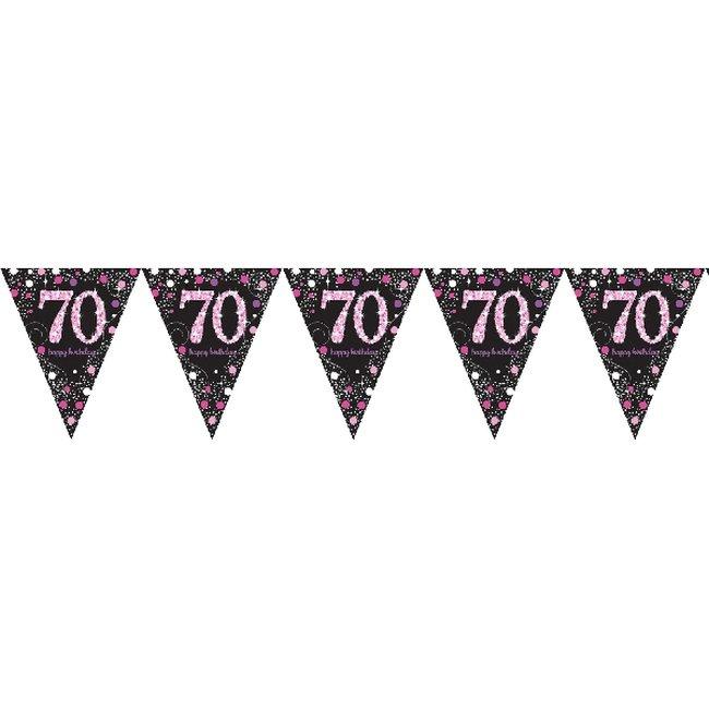 Banner Pancarta Letrero Prismático Metalizado Celebración Rosa Edad 70 4m