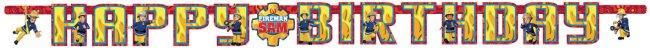 Banner de letras Happy Birthday de Sam el bombero