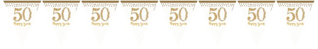 Banderín Aniversario de Bodas de Oro 50 Brinllante - 4m