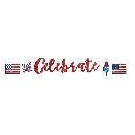 Banner USA con Purpurina Celebración Día de la Independencia - 3,65m