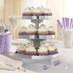 Stand para cupcakes en plateado