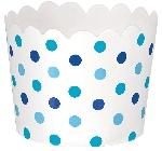 Mini tarrina ondulada puntos azul