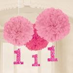 Pompones decorativos de 1er cumpleaños para niña-40cm