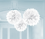 Pompones decorativos blancos-40cm