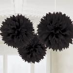 Decoracion Colgante Pompom Black Fluffy Pom Pom Decorations 40cm