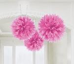 Pompones decorativos en rosa-40cm