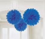 Pompones decorativos azul fuerte-40cm