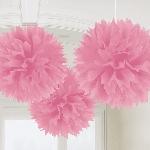 Decoracion Colgante Pompom New Pink Fluffy Pom Poms 40cm