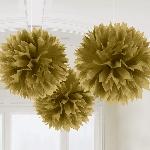 Decoracion Colgante Pompom Gold Fluffy Pom Pom Decorations 40cm