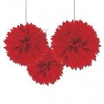 Pompones decorativos rojos-40cm