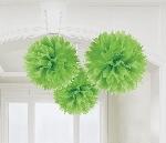 Pompones decorativos verde lima-40cm