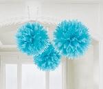 Pompones decorativos azul turquesa-40cm