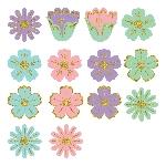 Mini Recortes de Flores con Purpurina para Pascuas - 6cm