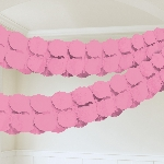 Guirnalda decorativa de papel rosa-3,7m