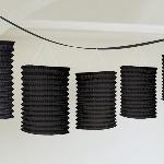 Guirnalda decorativa con lámparas de papel en negro-3,7m - Artìculos de Fiesta
