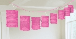 Guirnalda decorativa con lámparas de papel color rosa-3,7m